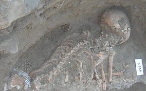The awl was discovered in this burial of a woman of about 40