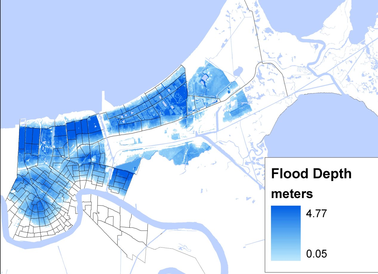 Image is from figure 1 (A) PLoS ONE article e6765; Any reuse should cite authors name (image: The map shows flood depth as of September 2, 2005)